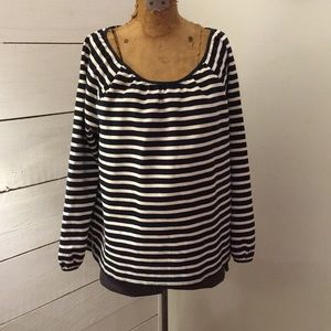Jcrew women's striped peasant top size M